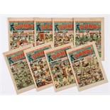 Dandy (1943) 239-246, May 1st - Aug 7th unbroken run. Propaganda war issues 'Every British Girl