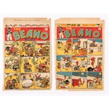 Beano 289, 291 (1946) D.C. Thomson front cover printer's proofs, 289 with 'Press inks on