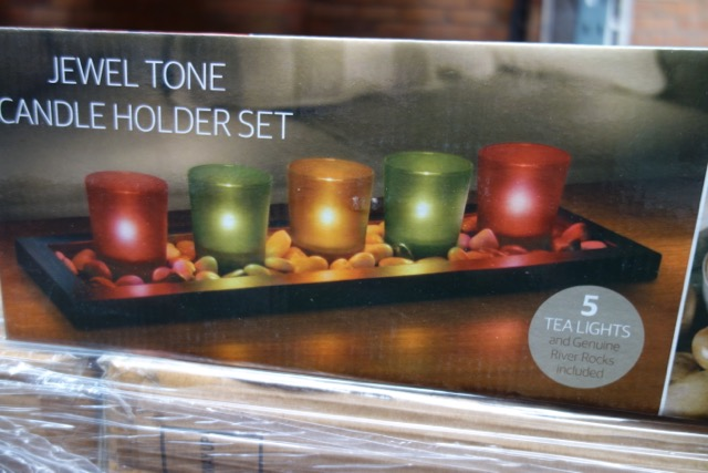 pallet 192 x jewel tone candle holder set a stylish wooden display base containing 5 solid glass. Black Bedroom Furniture Sets. Home Design Ideas