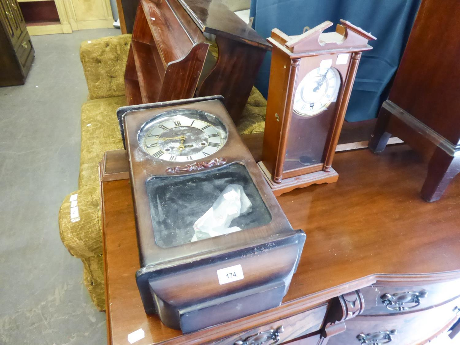 """""""HIGHLANDER"""" MODERN TALL MANTLE CLOCK IN VIENNA STYLE NARROW STAINED WOOD CASE HAVING 8 DAYS"""