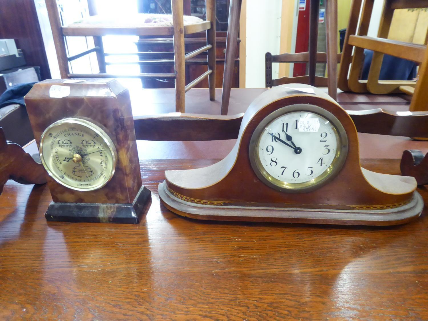 Lot 165 - CIRCA 1920's MAHOGANY MANTEL CLOCK IN NAPOLEONS HAT SHAPE CASE WITH DRUM SHAPED MOVEMENT AND
