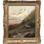 """Lemfried, B. """"Berghütte am Bach"""", Öl/Lw. auf Pappe aufgezogen, sign. u.r., 29x24 cm,Rahmen"""
