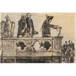 """""""Friedrich der Große mit Gefolge"""", Federzeichnung/Seidenpapier, unsign., Falten im oberenBereich,"""