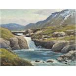 """Landschaftsmaler des 20. Jh. """"Der einsame Angler"""", Öl/Hf., unsign., 28x35 cm, Rahmen"""