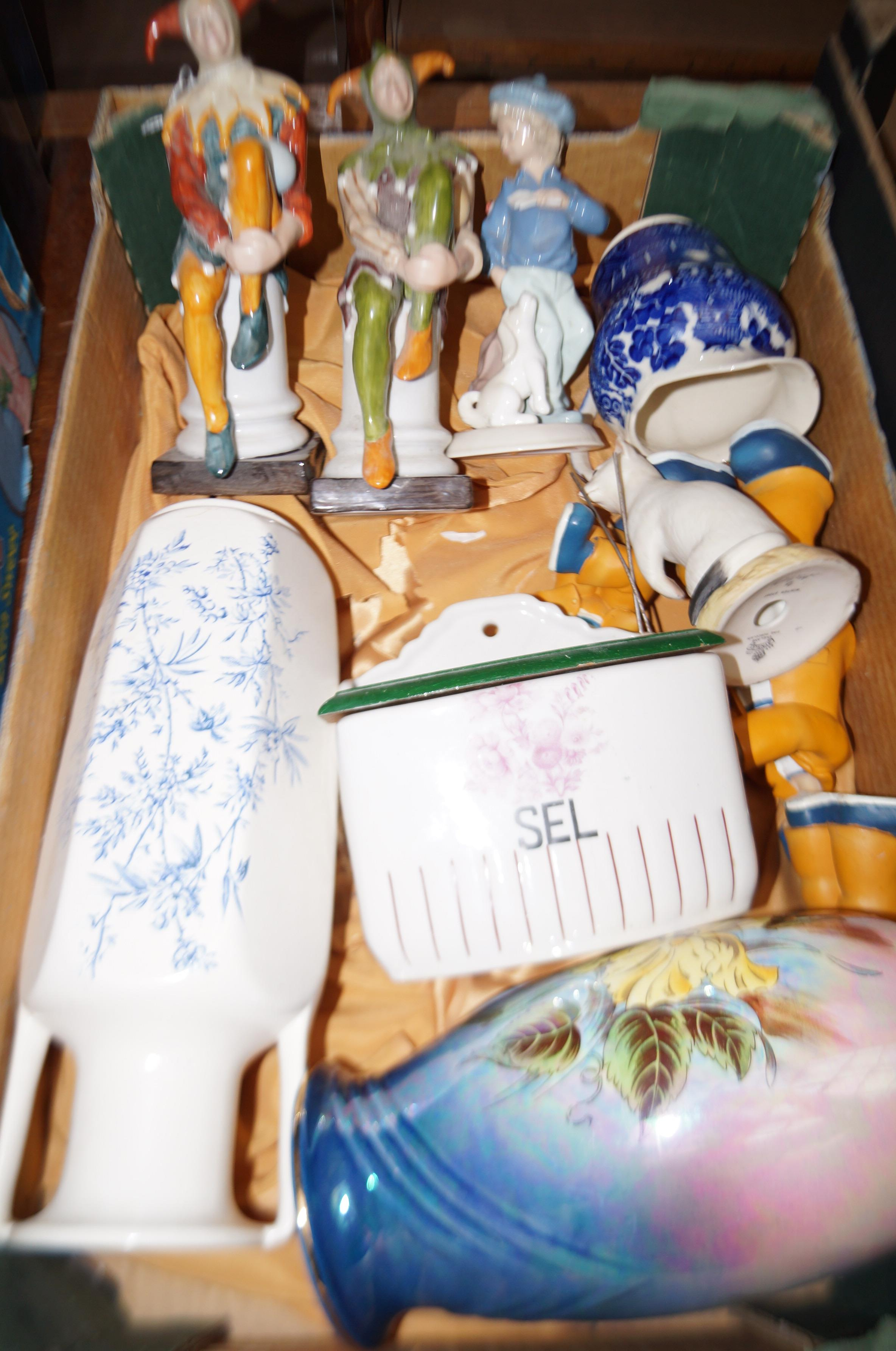 Lot 2 - Ceramics to include an early french salt box
