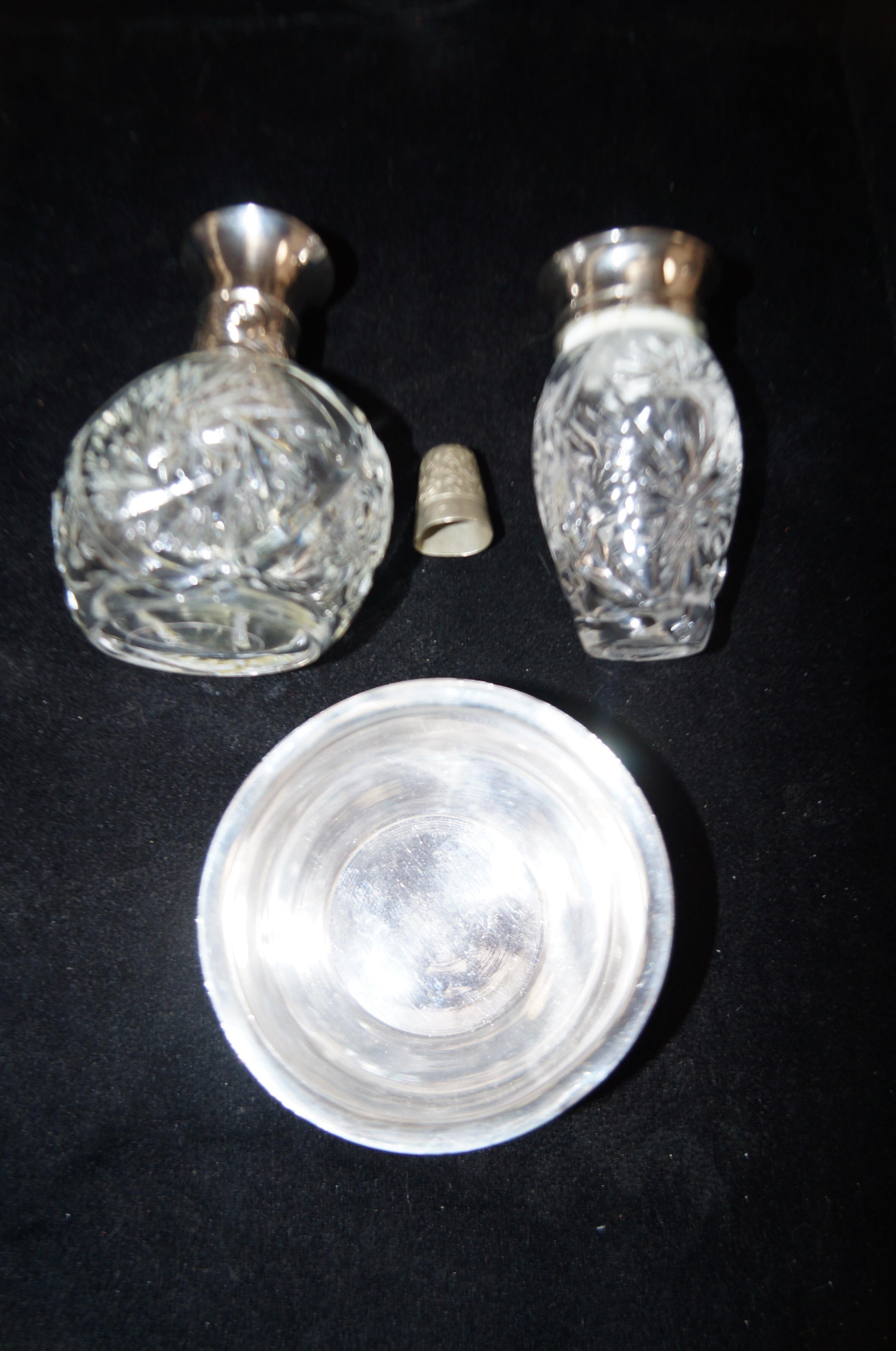 Lot 58 - 2 Scent bottles together with a silver thimble Che
