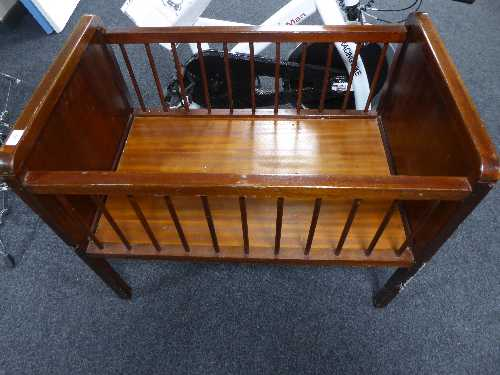 Lot 52 - A stained beech wood cot