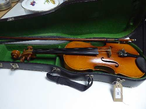 Lot 20 - A Chinese Lark violin and bow in case