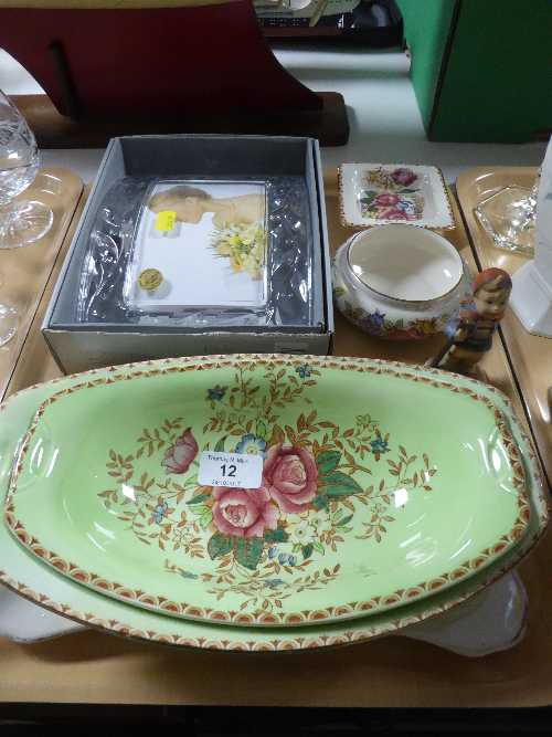 Lot 12 - A tray of Maling Rosalind dishes, Maling Rosine plate, similar bowl, Goebel figure,