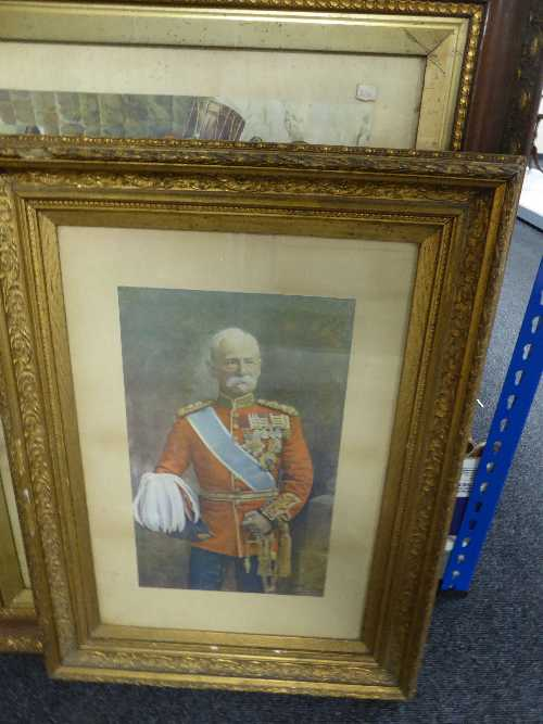 Lot 56 - A gilt framed antiquarian print figure in military dress by Russell London and a framed colour