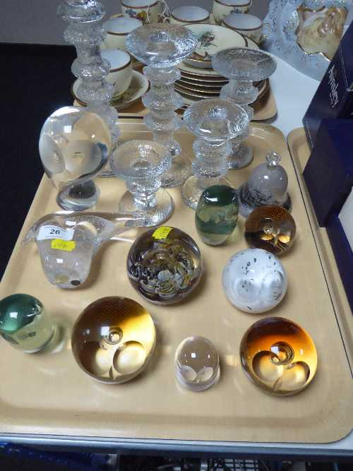 Lot 26 - A tray of five graduated glass candlesticks in the style of Whitefriars, glass bell,
