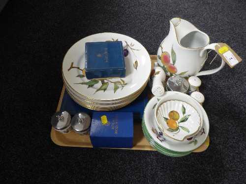 Lot 2 - Twenty six pieces of Royal Worcester Evesham china inc salt and pepper, dinner plates, jug,