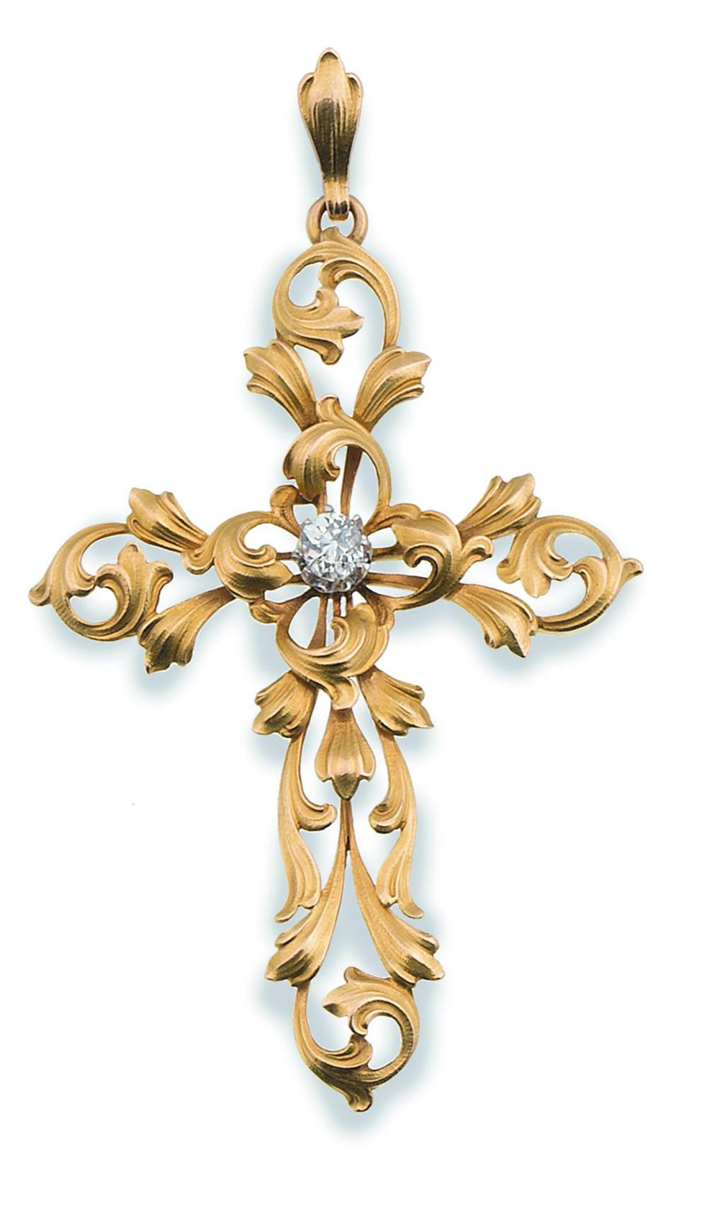 Lot 29 - Cruz Art Nouveau con brillante central de 0,35 ct y brazos en forma de ramas entrelazadas En oro