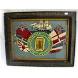 "Lot 183 - An antique sailors woolwork picture with long stitch ship and flags, ""HMS Cyclops"" with central"