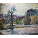 RIVER LANDSCAPE, MARCH DAY PETWORTH PARK by Ronald Ossory Dunlop RA
