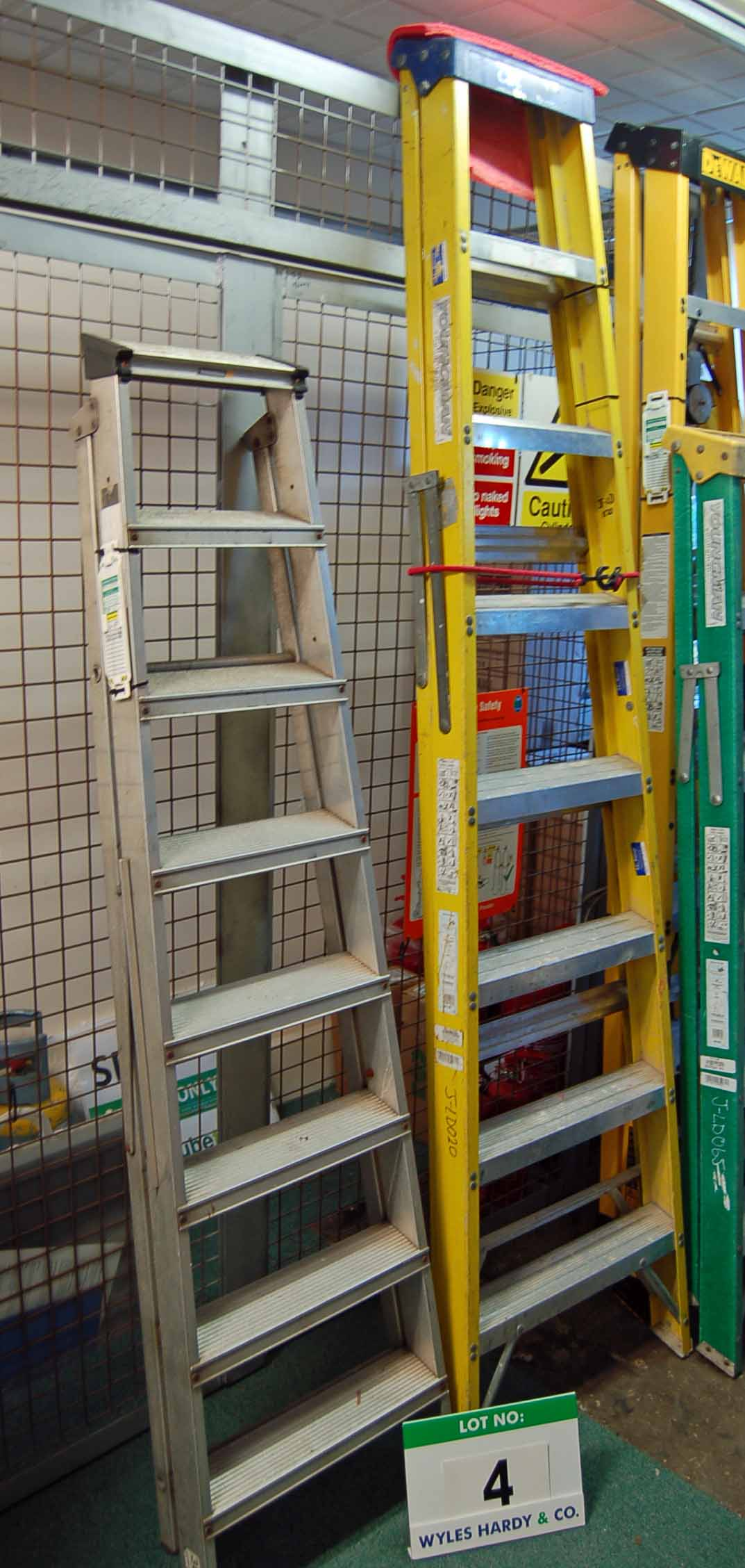 Lot 4 - A YOUNGMAN 8-Tread Aluminium Step Ladder and an 8-Tread Fibreglass/Alloy Catwalk Step Ladder