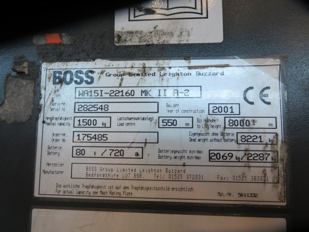 Lot 27 - 2001 BOSS MODEL WA151-22160 1500KG ELECTRIC HIGH RACK ISLE STACKER TRUCK