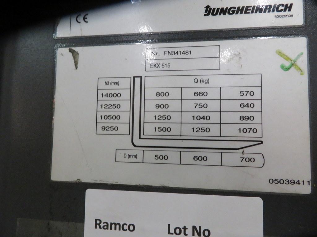 Lot 16 - 2006 JUNGHEINRICH MODEL EKX 515 1500KG ELECTRIC HIGH RACK STACKER TRUCK