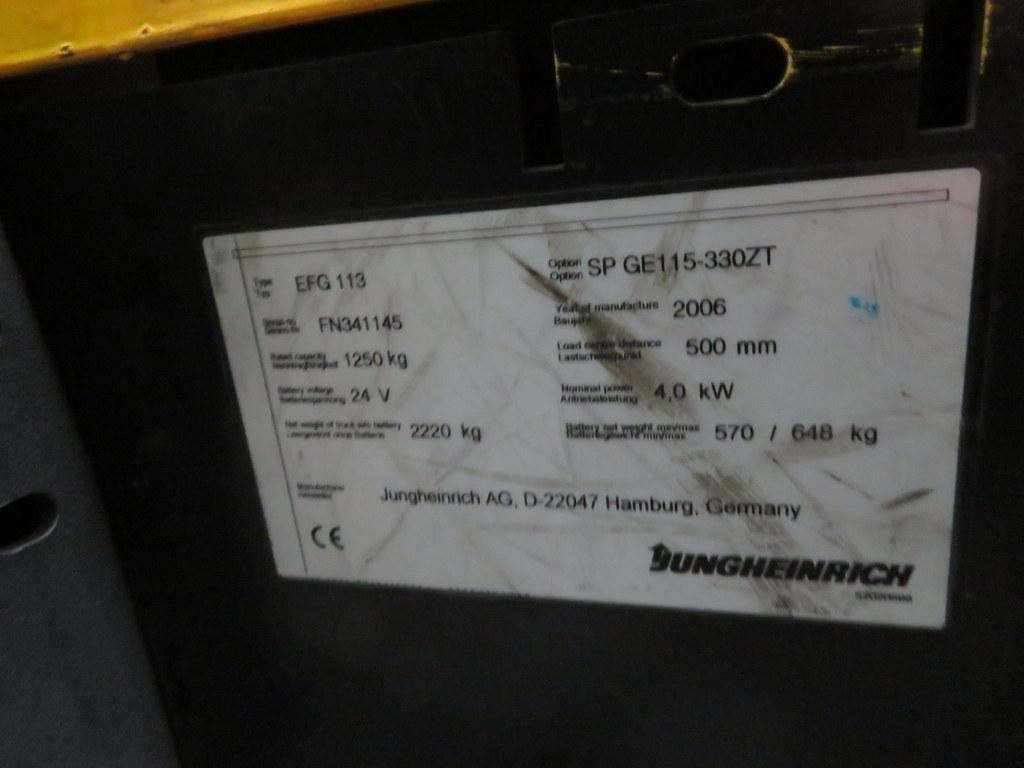 Lot 15 - 2006 JUNGHEINRICH MODEL EFG 113 1250KG ELECTRIC CB THREE WHEEL FLT