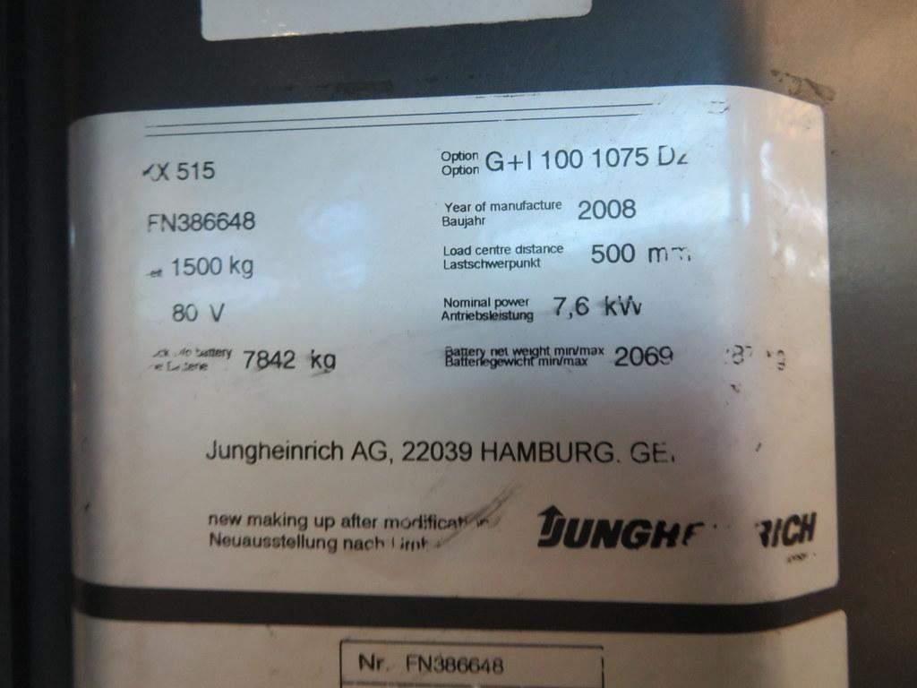 Lot 26 - 2008 JUNGHEINRICH MODEL EKX 515 1500KG ELECTRIC HIGH RACK STACKER TRUCK
