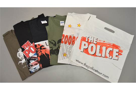 A collection of 5 official U2 and The Police tours T-shirts