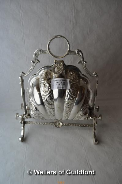 Lot 7310 - *Victorian style silver plate shell biscuit box (Lot subject to VAT)