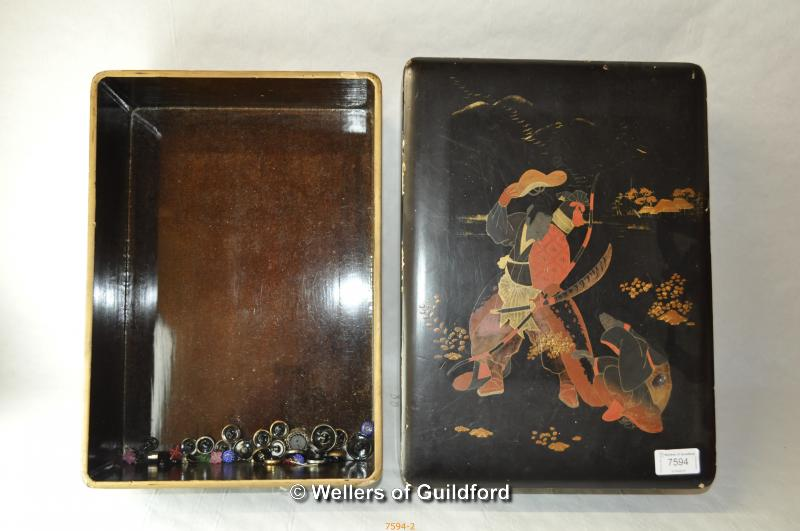 Lot 7594 - A Japanese laquered box, 38 x 27.5 x 10cm.
