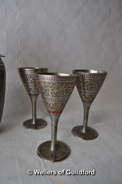 Lot 7306 - Plated wares including a pair of globular vases, cocktail shaker and matching drinking vessels; nine
