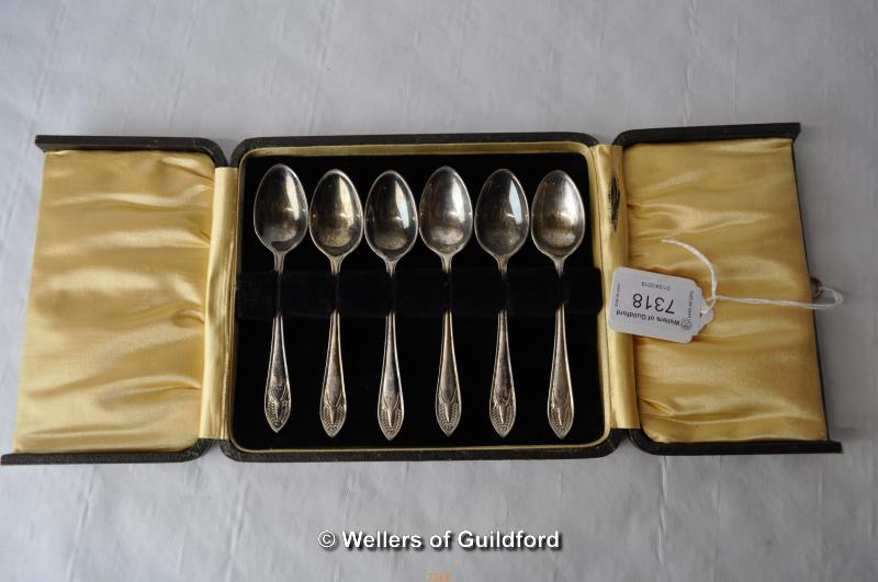 Lot 7318 - Set of six silver plated teaspoons, cased
