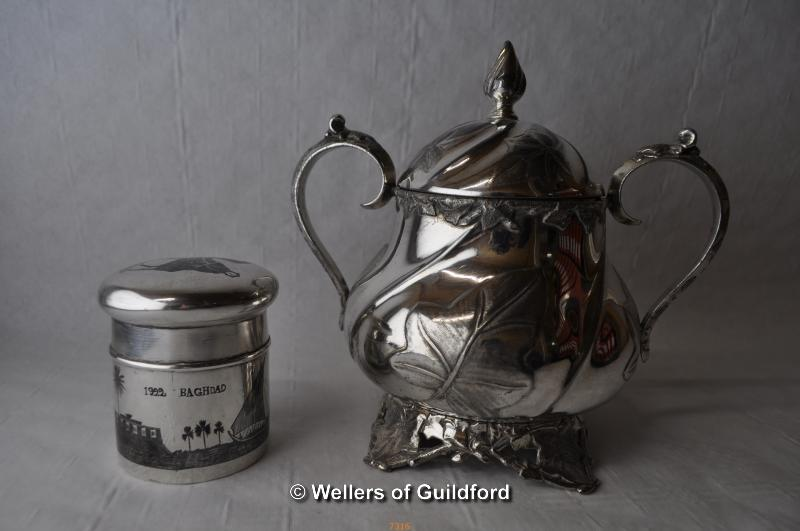 Lot 7316 - *Silvered tea caddy with Niello decoration and James Dixon silver plate twin-handled pot, scroll and