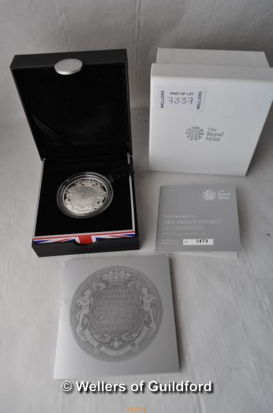 Lot 7337 - Three silver coins with boxes and certificates of authenticity; The Royal Birth 2013, To Commemorate