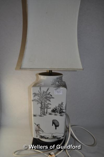 Lot 7573 - A 20th Century Chinese design square section table lamp, 74.5cm including shade.