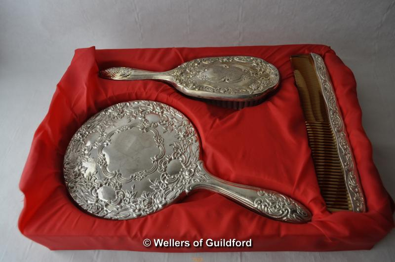 Lot 7323 - *Silver plate dressing table set comprising mirror and brush (Lot subject to VAT)