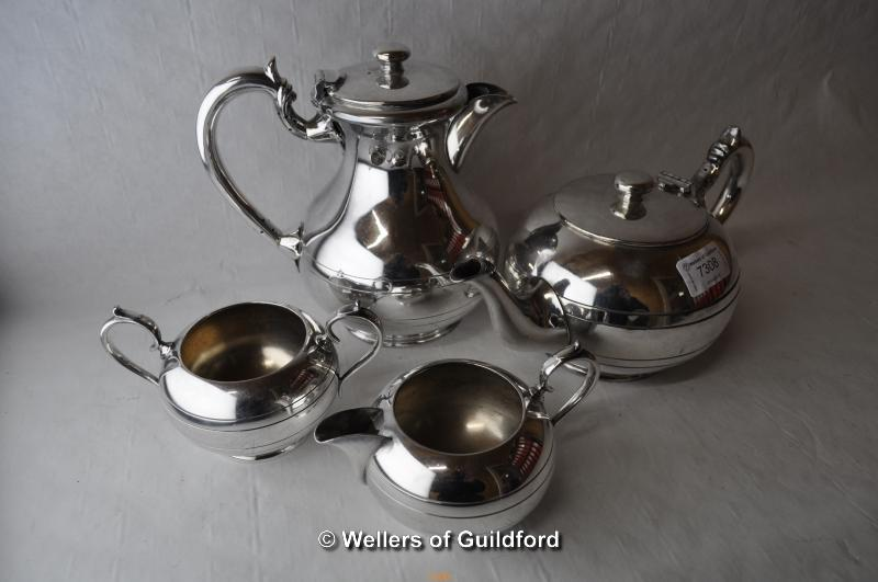 Lot 7308 - *Walker & Hall silver plate coffee and tea set comprising teapot, coffee pot, milk and sugar (Lot