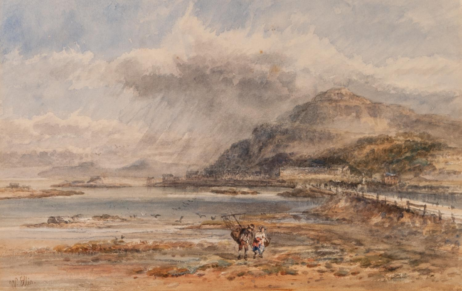 Lot 196 - WILLIAM ELLIS (NINETEENTH CENTURY) WATERCOLOUR DRAWING Beach scene with shrimpers in the