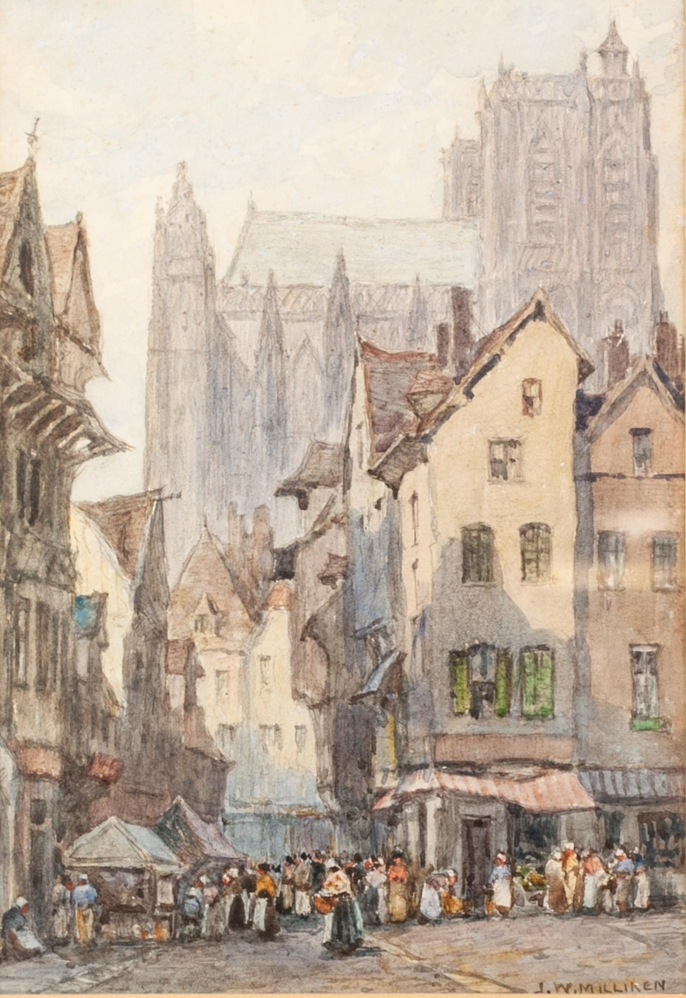 """Lot 165 - J W MILLIKEN (1887 - 1930) Watercolour A pair of French landscapes Both signed lower right 9 1/2"""""""