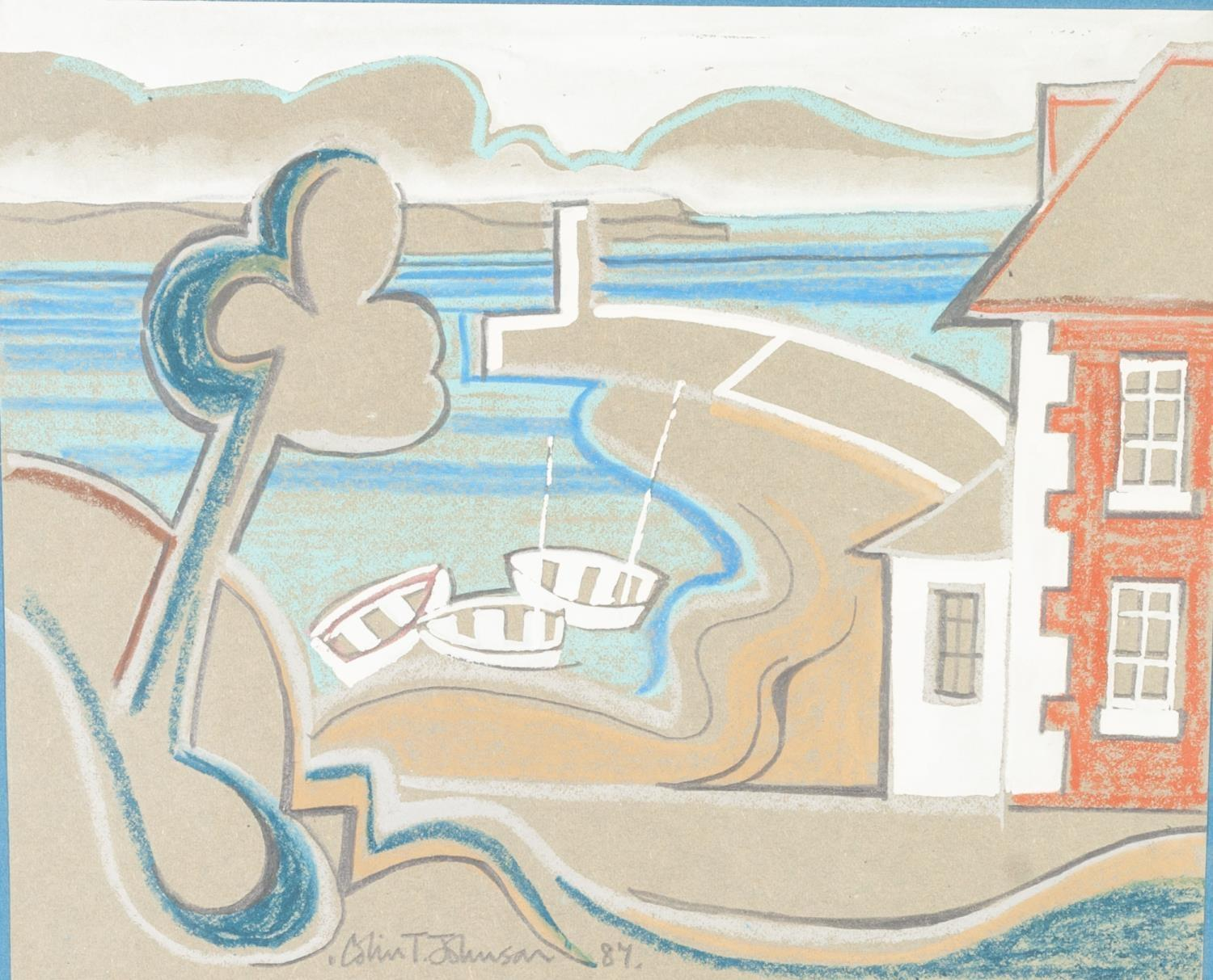 Lot 201 - COLIN T. JOHNSON (b.1942) PASTEL, PENCIL AND GOUACHE ON BUFF PAPER 'The Harbour Master's House'