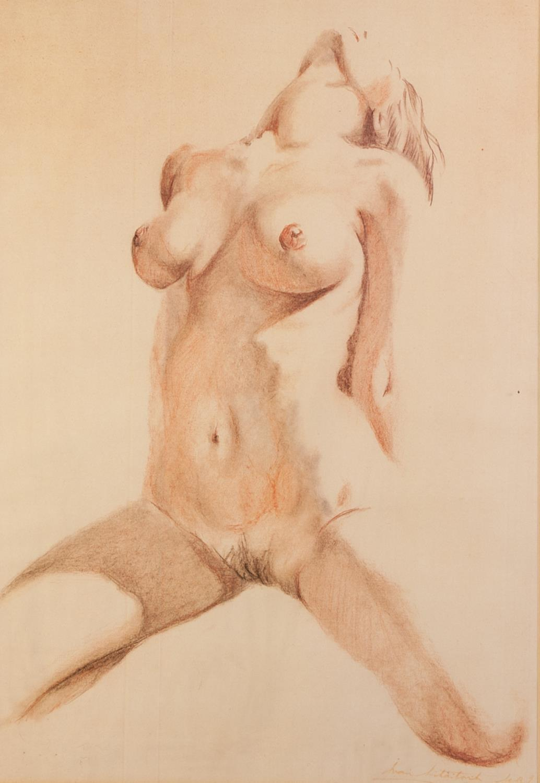 Lot 177 - BRIAN LITTLEFORD (?) (TWENTIETH CENTURY) WATERCOLOUR DRAWING Female nude, kneeling with head back