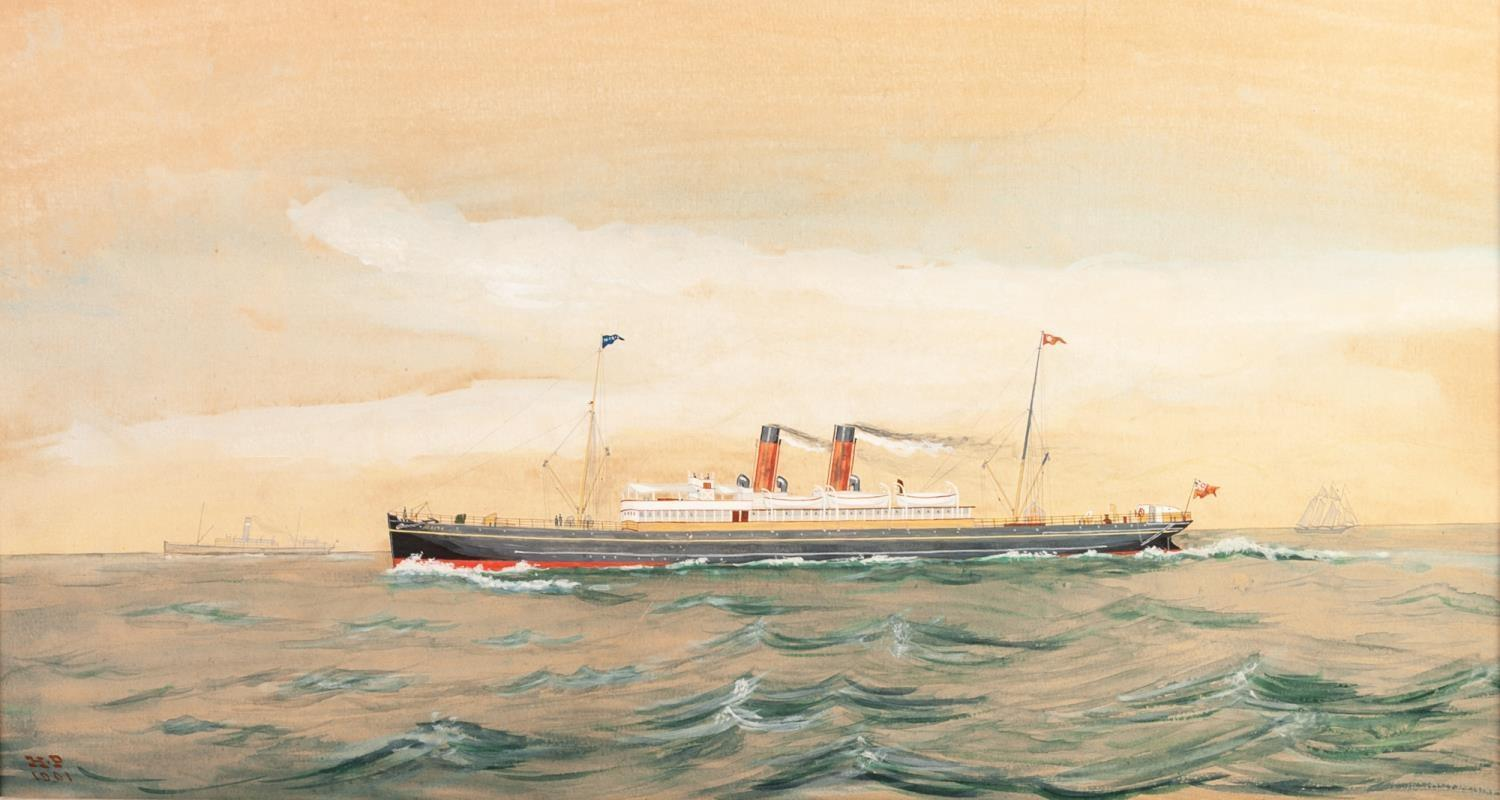 Lot 188 - H.P. (NINETEENTH/ TWENTIETH CENTURY) GOUACHE DRAWING, HEIGHTENED IN WHITE ?MAGIC? steam ship