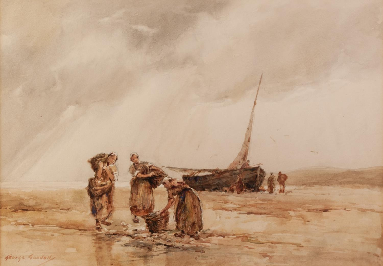 Lot 176 - GEORGE GOODALL (NINETEENTH/ TWENTIETH CENTURY) WATERCOLOUR DRAWING Unloading the catch Signed