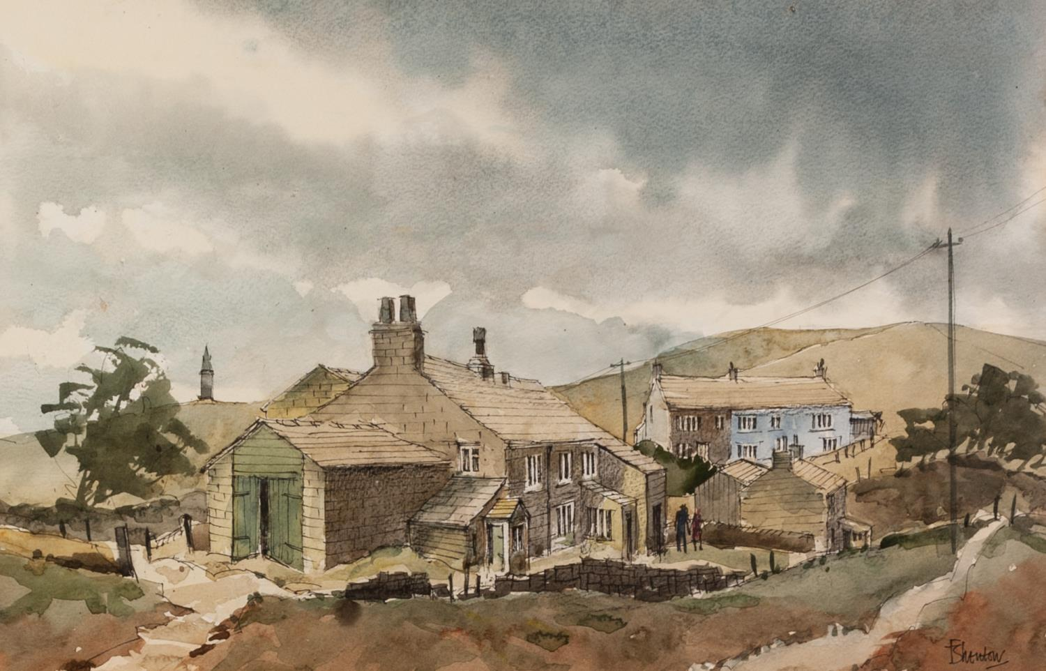 Lot 185 - FRANK SHENTON (Lecturer and Tameside College of Technology) Pen and watercolour drawing 'View of