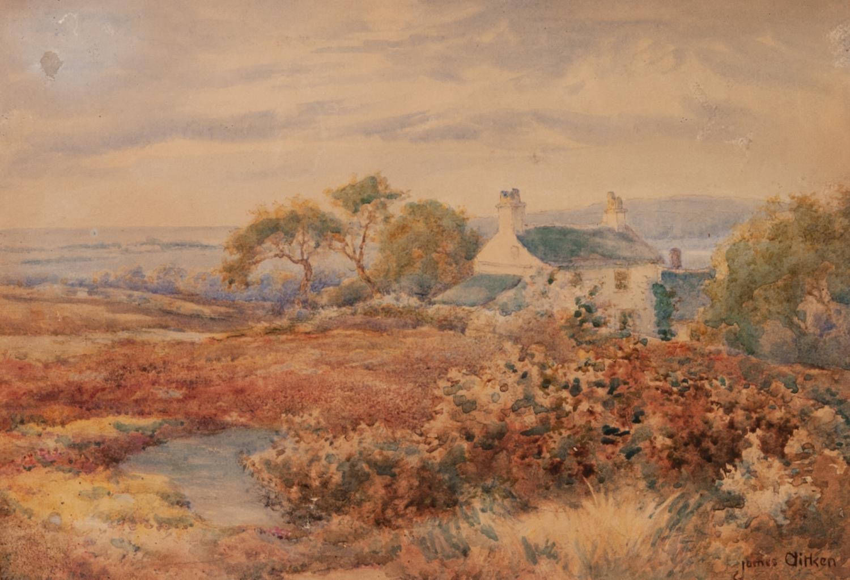 Lot 198 - JAMES AITKEN (act. 1880-1935) WATERCOLOUR DRAWING Cottage in a landscape Signed 9 ¼? x 13 ½? (23.5cm