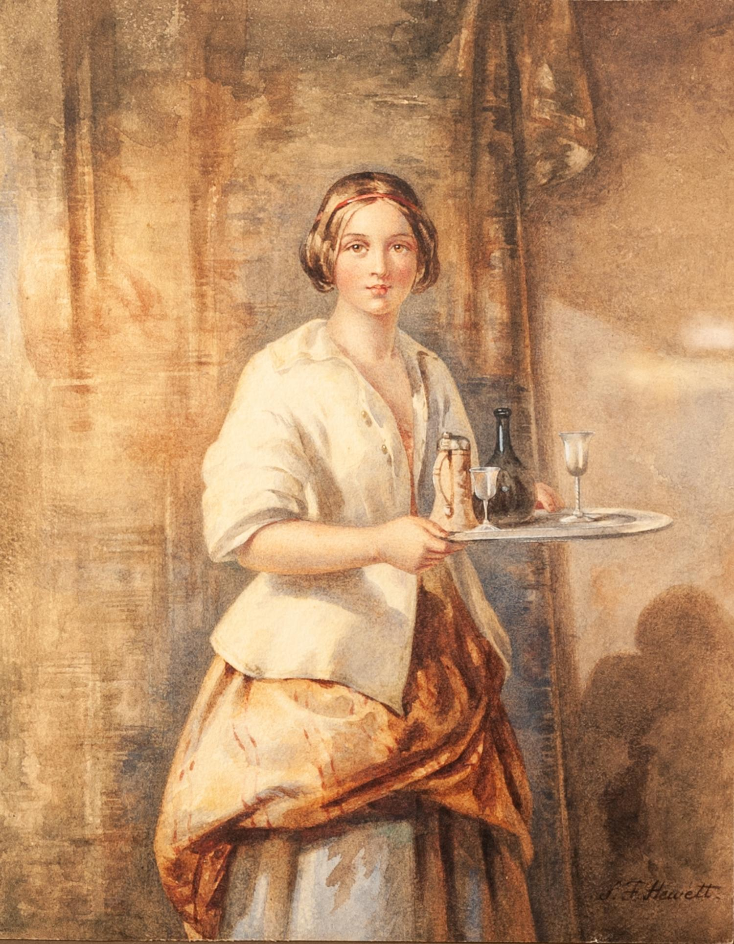 Lot 169 - MISS SARAH F HEWITT (1851 - 1883) Watercolour Young lady in an interior carrying a tray with