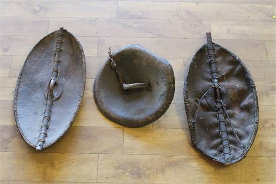 THREE LATE 19TH CENTURY MAASAI AND ETHIOPIAN SHIELDS