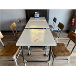 (3) Two Top Dining Table w/ Stone Top, Pipe Base