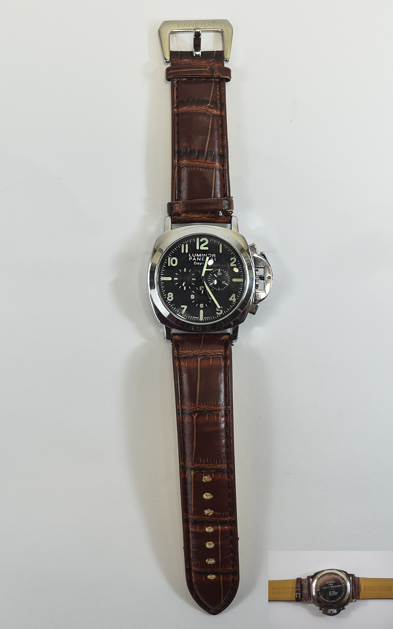 Lot 189 - Gents Fashion Replica Stainless Steel Wrist Watch, Panerai Luminor, Marked Leather Strap.