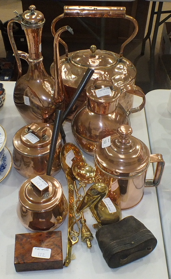 Lot 122 - A copper kettle, 35cm high, a copper jug and cover and other copper and metal ware.