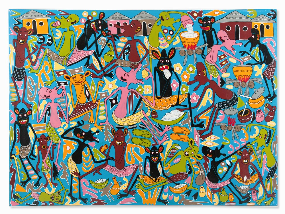 Lot 113 - George Lilanga, Painting, Shetani Banquet, Tanzania, c. 1996Lacquer on canvasTanzania, around