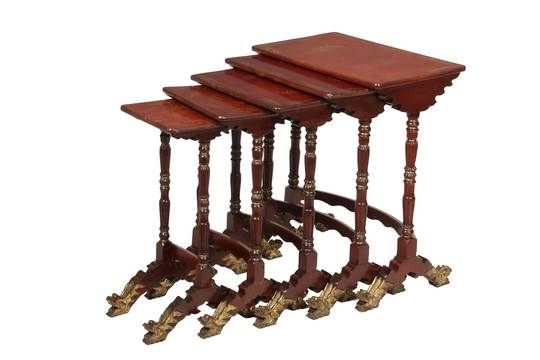 19th c chinese nesting tables set of five graduated tables in red auction date watchthetrailerfo