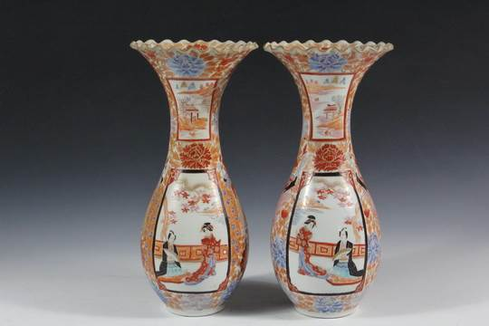 Pair Of Japanese Porcelain Vases 19th C Kutani Baluster Vases